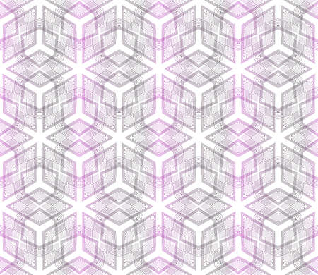 Seamless vector pattern of geometric cube. Purple gradient illustration.