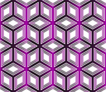 Seamless vector pattern of geometric cube. Purple gradient illustration.