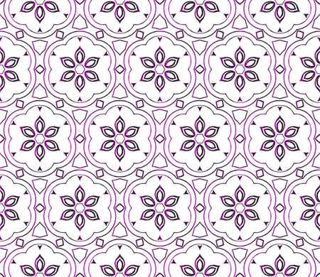 Flower abstract seamless pattern. Vector illustration, purple gradient. Vecteurs