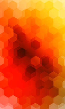 hexagonal patterns. 3d illusion. orange, yellow gradient banner.