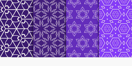 set of 4 geometry seamless pattern. abstract geometry shape triangle, hexagon. vector illustration. modern ornament. For design, wallpaper, background fills, card, banner, flyer. blue color