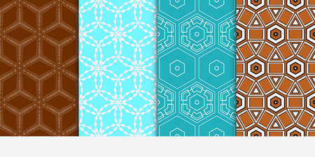Set of seamless vector patterns. Repeating geometric lines and shapes. For design, wallpaper, background fills, card, banner, flyer. color Illustration