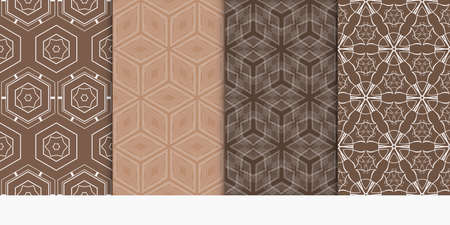 Set of 4 geometry seamless pattern. Abstract geometry shape, lines vector illustration. modern ornament brown color. For design, wallpaper, background fills, card, banner, flyer.