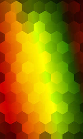 hexagons on a green, orange, red background. geometric banner with gradient. vector. ideas for your business presentations, printing, design.