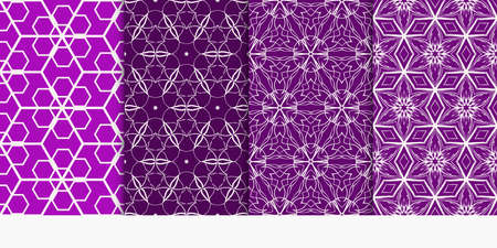 set of geometry seamless pattern. abstract geometry triangle, hexagon. vector illustration. modern ornament. purple color For design, wallpaper, background fills, card, banner 일러스트