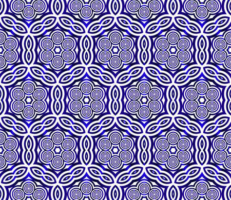 ovals and circles. seamless vector image. blue gradient