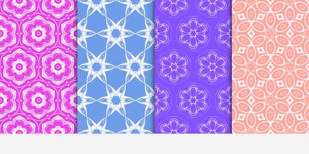 set of original floral patterns. geometrical ornament. vector illustration for design invitation, backgrounds, wallpapers 일러스트