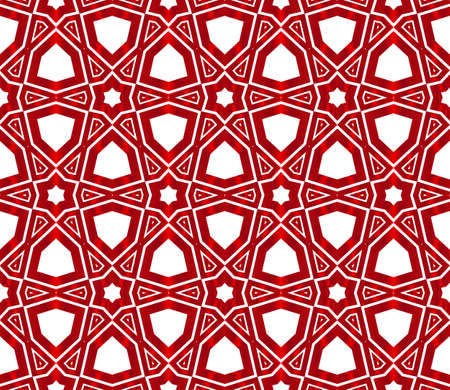 Hexagons seamless vector image. Red gradient illustration.