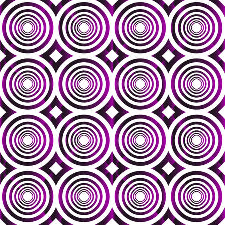 Geometric pattern of circles and ovals. Vector illustration. Purple gradient.