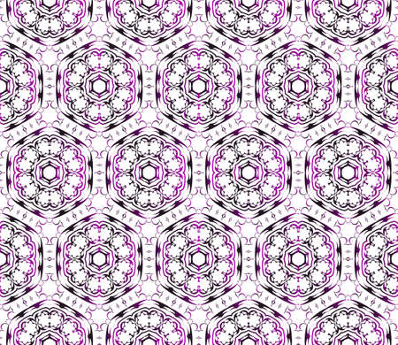 Seamless vector illustration in purple gradient with the image of abstract flowers.