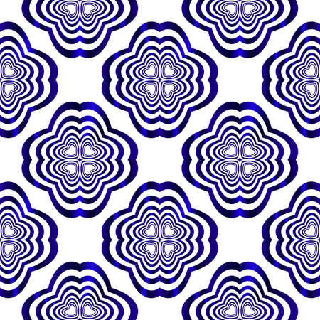 geometric pattern of circles and ovals. vector illustration. blue gradient.