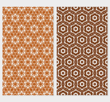 set of floral seamless pattern. abstract geometry shape and lines. vector illustration. Ethnic arabic ornament. for design invitation, backgrounds, wallpapers  イラスト・ベクター素材