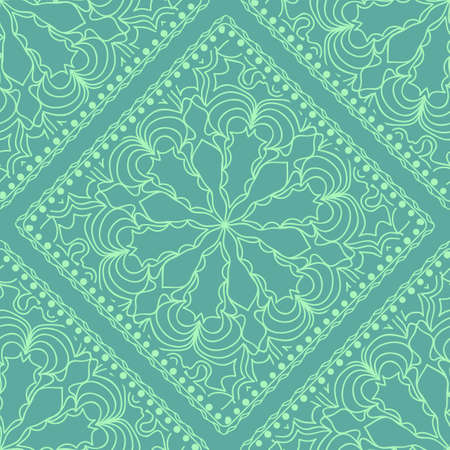Mandala graphic background, square pattern with floral geometric ornament. vector illustration. For Bandanna fabric print, neck scarf or rug. Ilustração