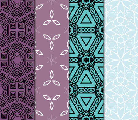 set of 4 complex geometric ornament. sophisticated geometric pattern based on repetitive simple forms. vector illustration
