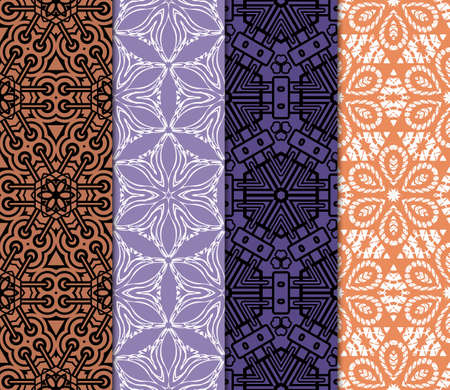 set of 4 Seamless geometric pattern with modern style ornament on color background. For greeting cards, invitations, cover book, fabric, scrapbooks. Standard-Bild - 102089527
