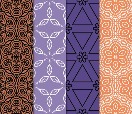 set of 4 Vector seamless patern of Bright geometric Backgrounds inmodern style. For greeting cards, invitations, cover book, fabric, scrapbooks. Vectores
