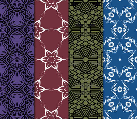 set of 4 decorative ethnic ornament. Seamless vector illustration. For printing on fabric, paper for scrapbooking, wallpaper, cover, page book.