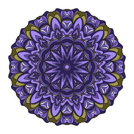 Vector hand drawn flower symbol illustration. Color mandala design. For fashion, web, surface design