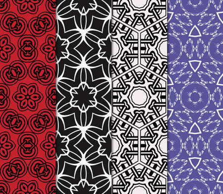 set of 4 Simple vector geometric seamless pattern. Cute scrapbook paper. for printing on fabric, paper for scrapbooking, wallpaper, cover, page book.