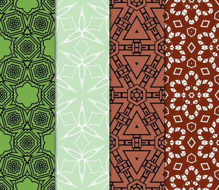 Decorative oriental pattern set. modern geometric design. vector illustration