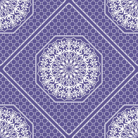 Beautiful tablecloth. Seamless lace pattern with geometric . floral element. Vector illustration. Purple color