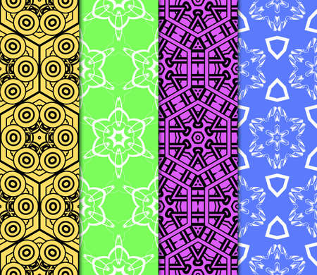 Colorful decorative pattern set in bright tones. Vector illustration. Fashion design