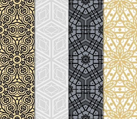 conjunto de 4 adornos geométricos complejos. patrón geométrico sofisticado basado en formas simples repetitivas. ilustración vectorial