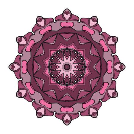 Mandala Style Vector Shapes. Decorative Cicle ornament. Floral design. Color illustration 向量圖像