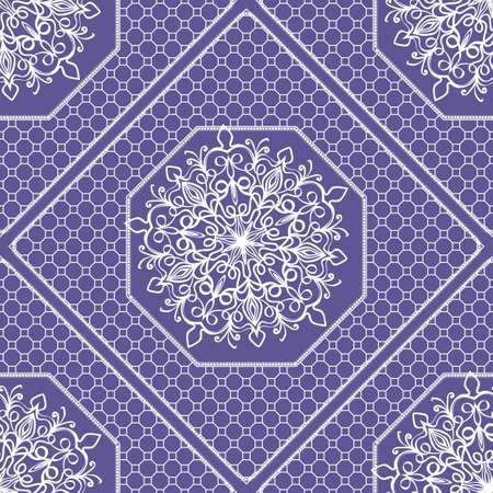 Decorative floral ornament. seamless pattern. Purple color. vector illustration. idea for design prints for neck scarves, carpets, bandanas. for interior design, wallpaper
