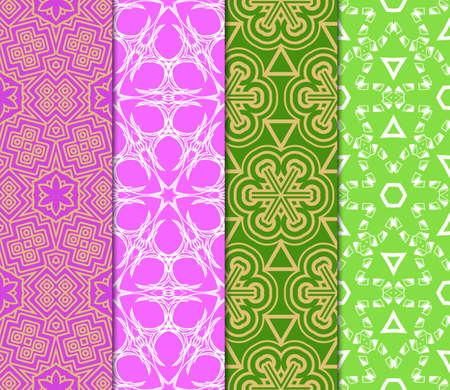 Set of seamless geometric patterns. Idea for creative design. Modern Vector illustration