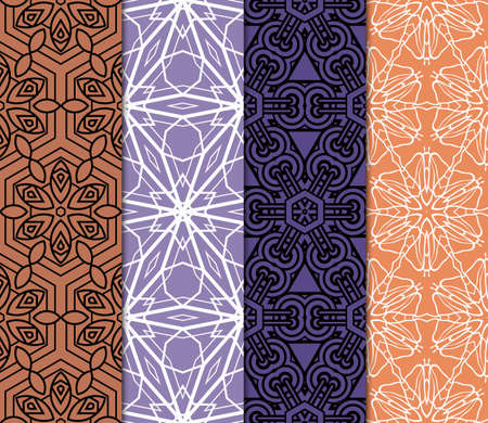 set of 4 Vector seamless pattern with geometric, floral style background. for printing on fabric, paper for scrapbooking, wallpaper, cover, page book.