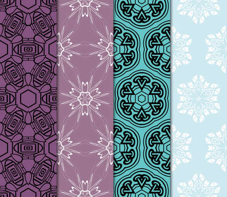 set of 4 Vector seamless patern of Bright geometric Backgrounds inmodern style. For greeting cards, invitations, cover book, fabric, scrapbooks. Ilustrace
