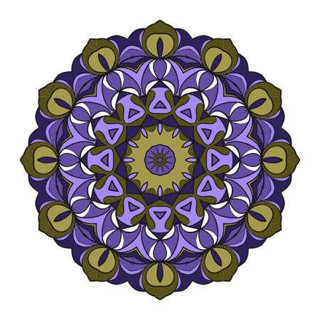 Mandala Style Vector Shapes. Decorative Cicle ornament. Floral design. Color illustration