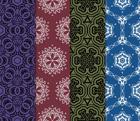 set of 4 geometric pattern, floral lace geometric ornament. Ethnic ornament. Vector illustration. For greeting cards, invitations, cover book, fabric, scrapbooks.