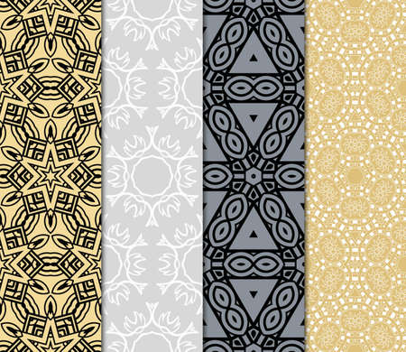 set of 4 Seamless geometric pattern with modern style ornament on color background. For greeting cards, invitations, cover book, fabric, scrapbooks.