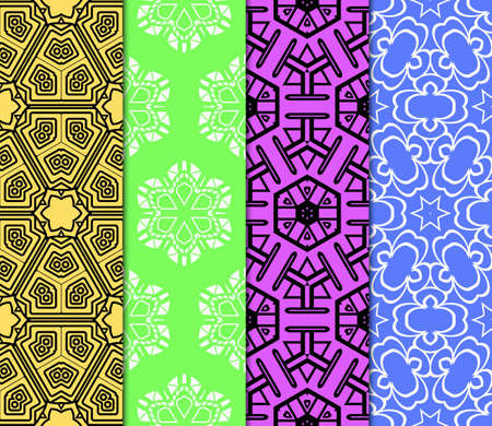 Vector seamless patterns set in trendy mono line style. Geometric textures. Fashion design