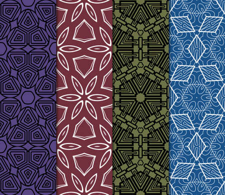 set of 4 decorative ethnic ornament. Seamless vector illustration. Geometric modern style. For greeting cards, invitations, cover book, fabric, scrapbooks. Illustration