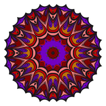Mandala. Blue, red, gold color flower ornament. Vector cool illustration