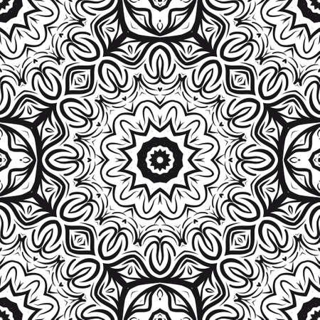 vector illustration. pattern with floral mandala, decorative border. design for print fabric, super bandana. Stock Vector - 102917667