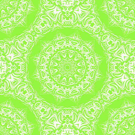 Floral Geometric Pattern with hand-drawing Mandala. Vector super illustration. For fabric, textile, bandana, scarg, colored print