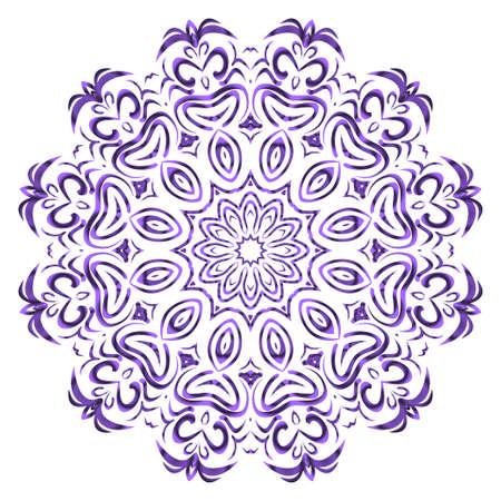 Vector hand drawn floral color mandala design. For fashion, surface design. Red, purple, gold mistic color Stock Illustratie