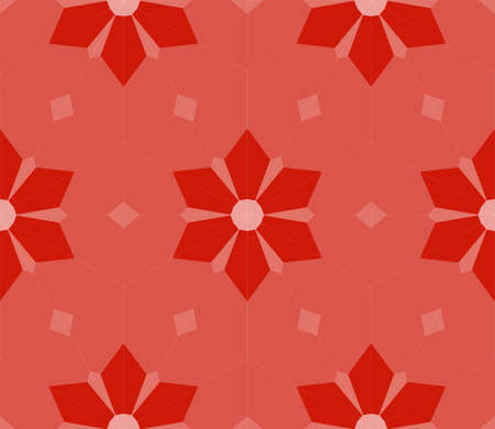 seamless mosaic. floral stained-glass window. red color. vector illustration. for design, wallpaper, interior Ilustrace
