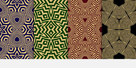 set of 4 seamless patterns. Ethnic gold geometric pattern on black, burgundy, blue, green backgrounds. optical illusion. vector illustration. for interior design, printed, wallpaper, fashion