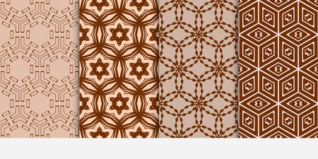 Set of seamless vector patterns. Repeating geometric lines and shapes. For design, wallpaper, background fills, card, banner, flyer. brown color