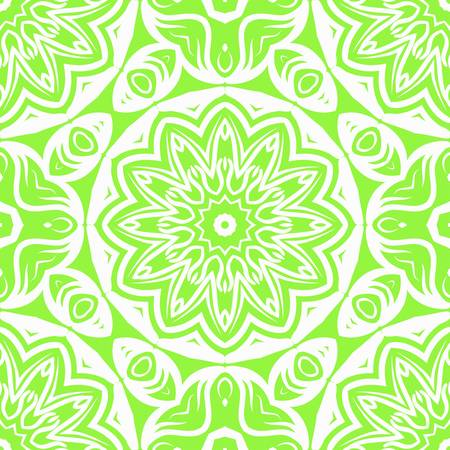 Floral Geometric Pattern with hand-drawing Mandala. Vector super illustration. For fabric, textile, bandana, scarg, transcendental print.