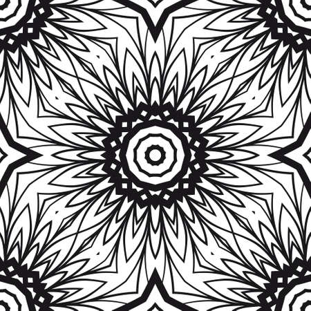 decorative ethnic ornament. Seamless vector illustration. Floral style. for printing on fabric, paper for scrapbooking, wallpaper, cover, page fantastic mandala book Illustration