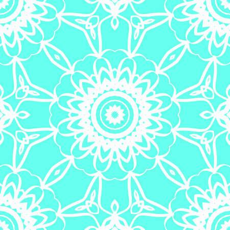 Vector illustration. pattern with floral mandala, decorative seamless ornament. design for print fabric, modern bandana Illustration