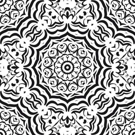 Nahtloses Vektormuster. Geometrische Blumenverzierung. Für Innendekoration, Tapete, Präsentation, Modedesign, Traumdruck Vektorgrafik