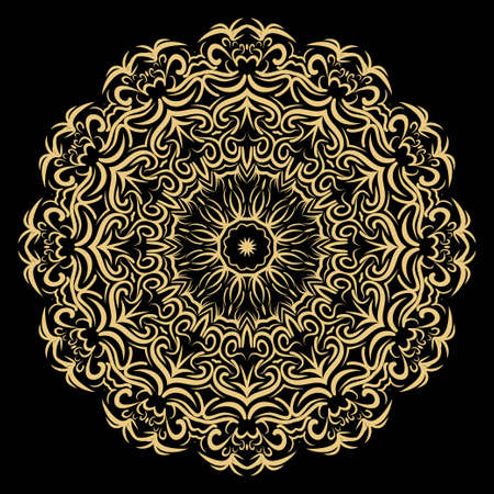 Very beautiful flower mandala. decorative vector. gold, black color. vector fantastic illustration