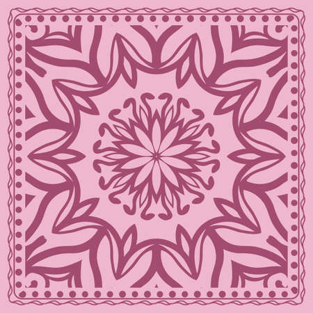 Mandala graphic background, square pattern with floral geometric ornament. vector illustration. for Bandanna fabric print, neck scarf or rug.